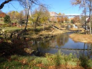 Reedy River and Falls under Liberty Bridge
