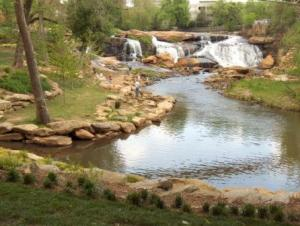 A Fav View of the Reedy River and Falls (photo by Ann Marquette)